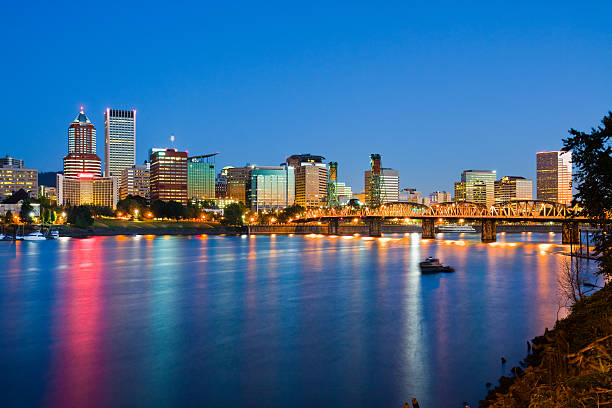 Portland city landscape with lights reflecting on water stock photo