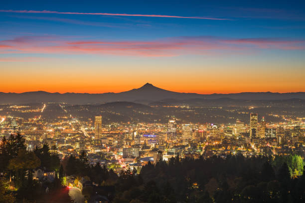 Portland downtown and Mt Hood at dawn stock photo