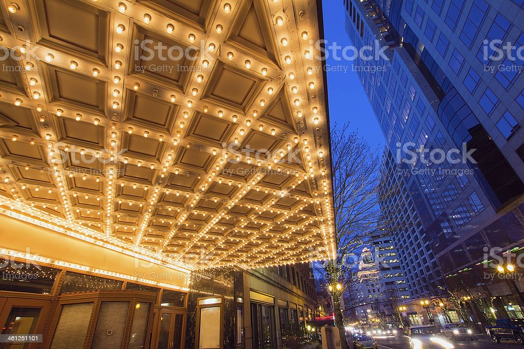 Portland Downtown Broadway Entertainment District Nightlife stock photo