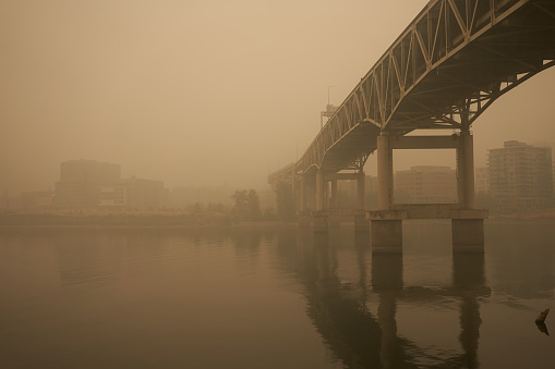 The Marquam Bridge over the Willamette River in downtown Portland during the Oregon wildfires.