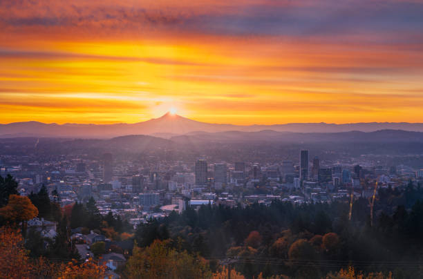 Portland downtown with  autumn foliage in thin fog, shining sunrise and colorful clouds stock photo