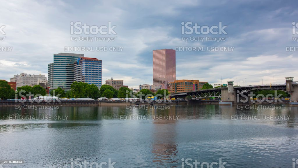 Portland Dowtown reflected in Willamette River stock photo