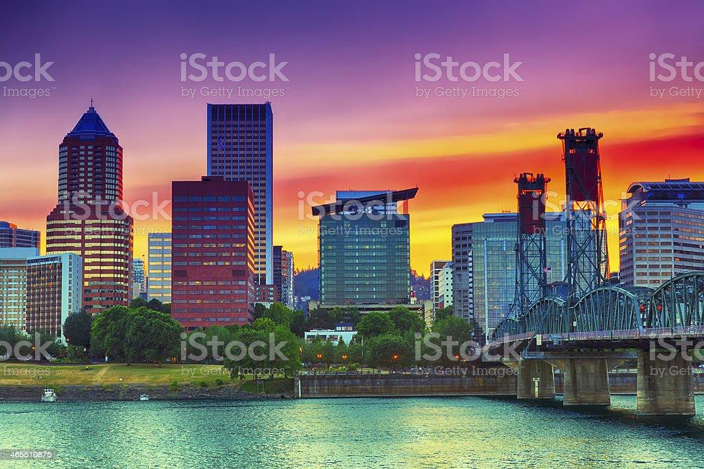 Portland during sunset stock photo