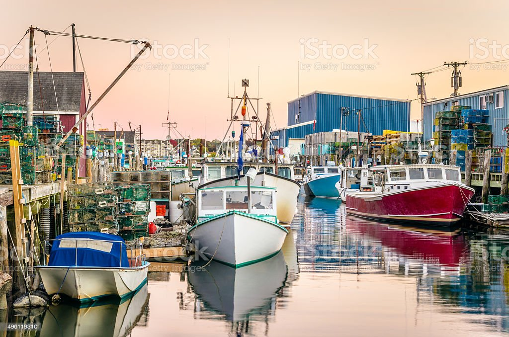 Portland Fishing Harbour at Sunset stock photo