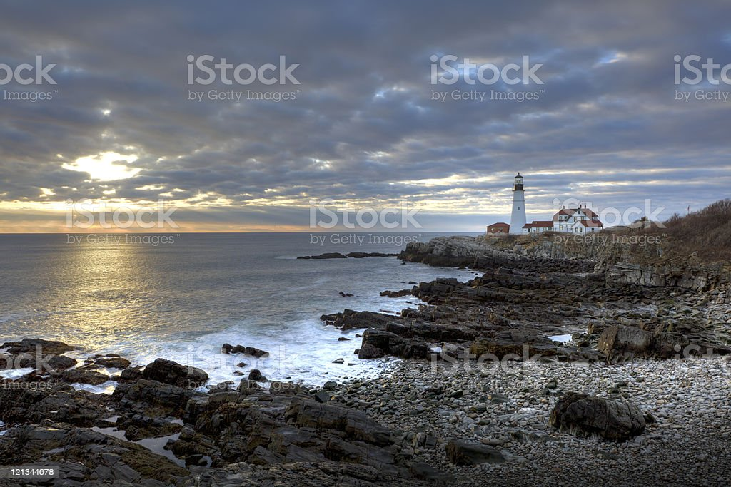 Portland Head ligh, lighthouse stock photo
