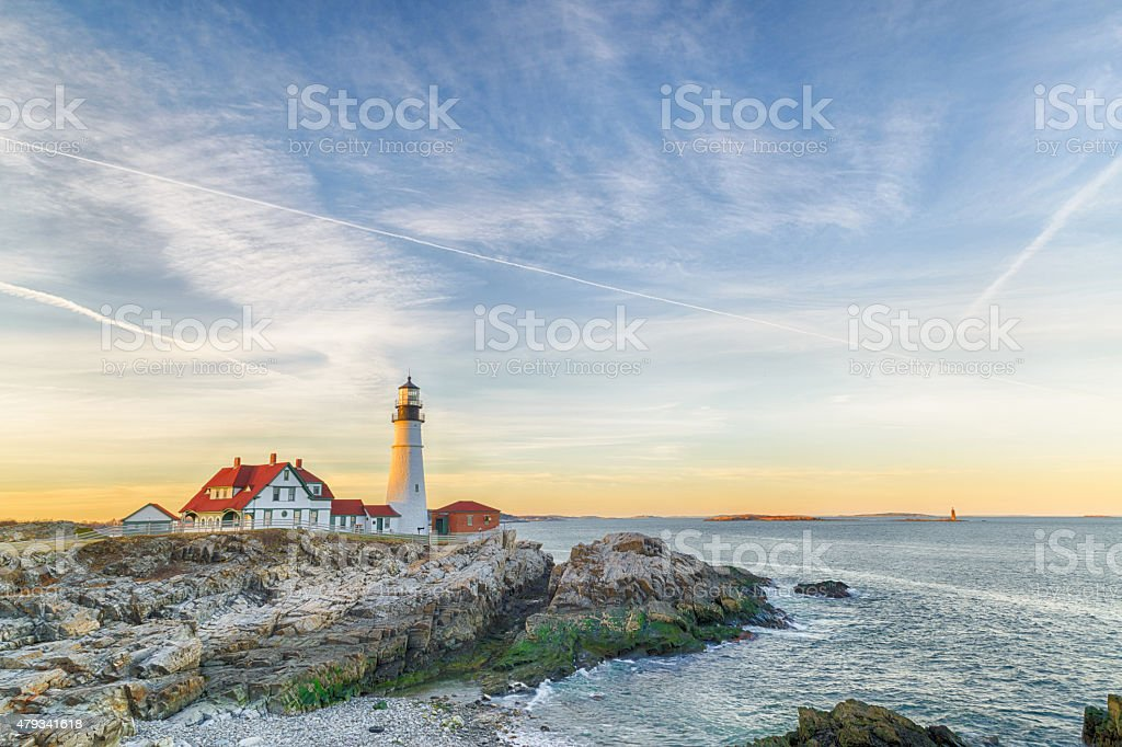 Portland Head Light At The Dusk stock photo