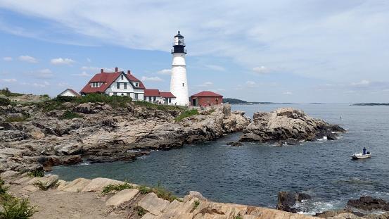 Portland Head Light, historic lighthouse at the entrance of Portland Harbor, Cape Elizabeth, ME, USA