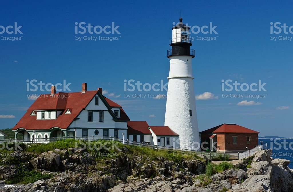 Portland Head Light Lighthouse in Maine stock photo