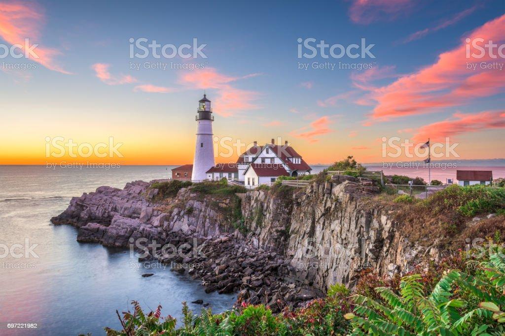 Faro de Portland - Foto de stock de Maine libre de derechos