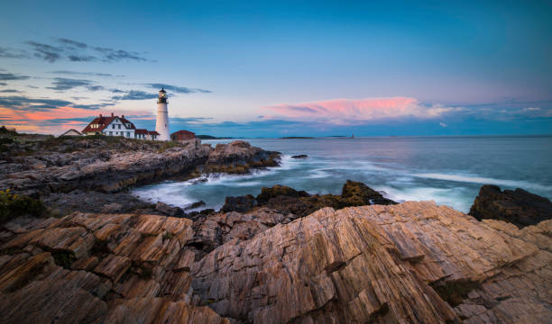 portland head light - rocky coastline stock pictures, royalty-free photos & images