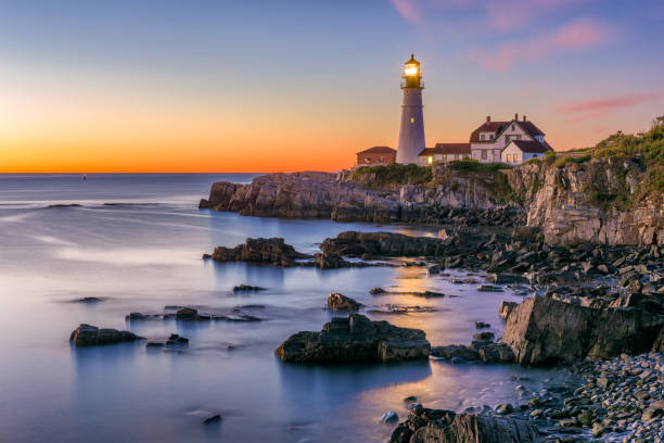Portland Head Light Portland, Maine, USA at Portland Head Light. beacon stock pictures, royalty-free photos & images
