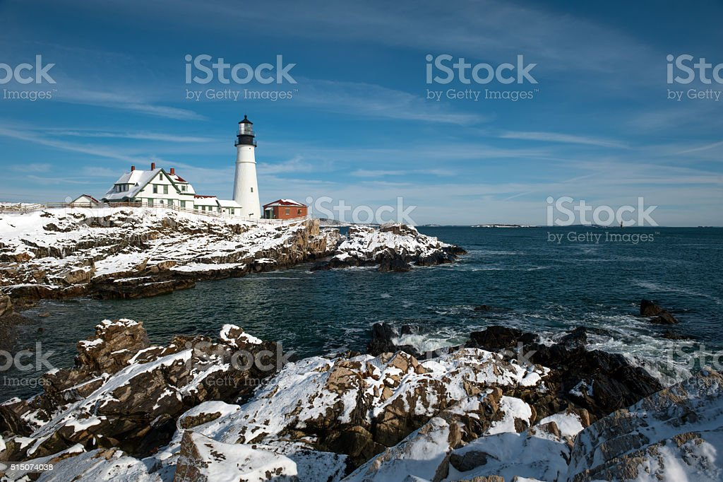 Portland Head Lighthouse after a snow storm in Maine. stock photo