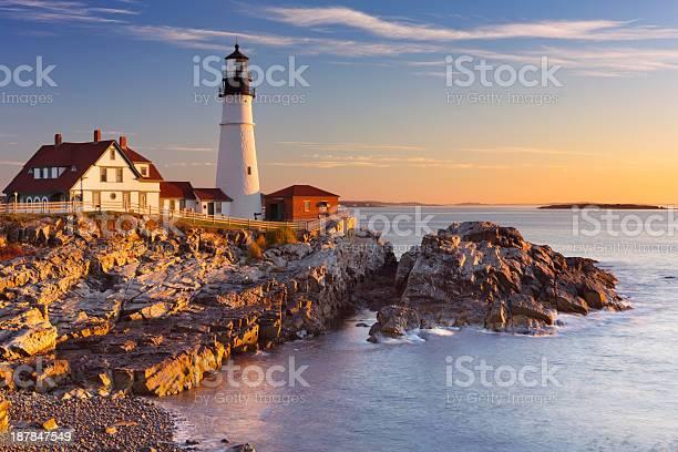 Photo of Portland Head Lighthouse, Maine, USA at sunrise