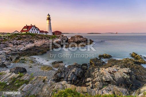 Portland Head Lighthouse, Maine, USA at sunset