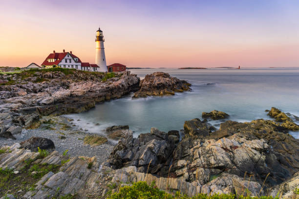 Portland Head Lighthouse, Maine, USA at sunset stock photo