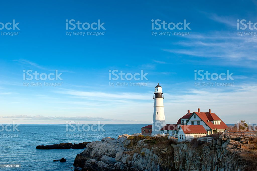 Portland Head Lighthouse on a clear, sunny fall day. stock photo