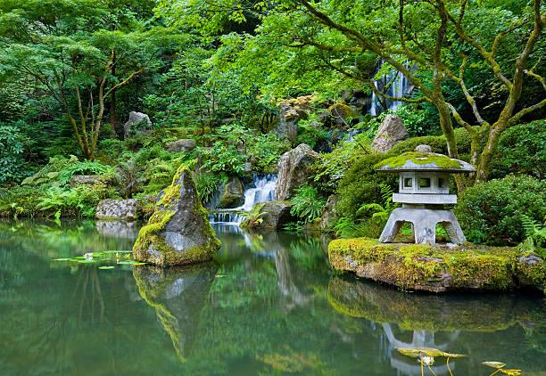 portland japanese garden - japanischer garten stock-fotos und bilder