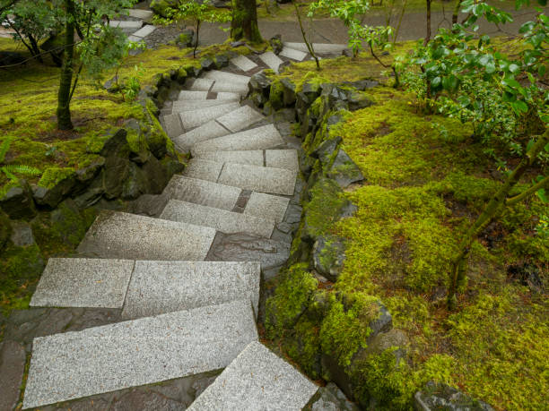 Portland Japanese Garden Stone Steps Lush Growth in Portland Oregon stock photo