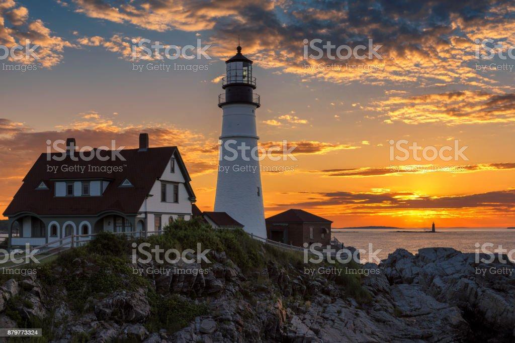 Portland Lighthouse at sunrise stock photo