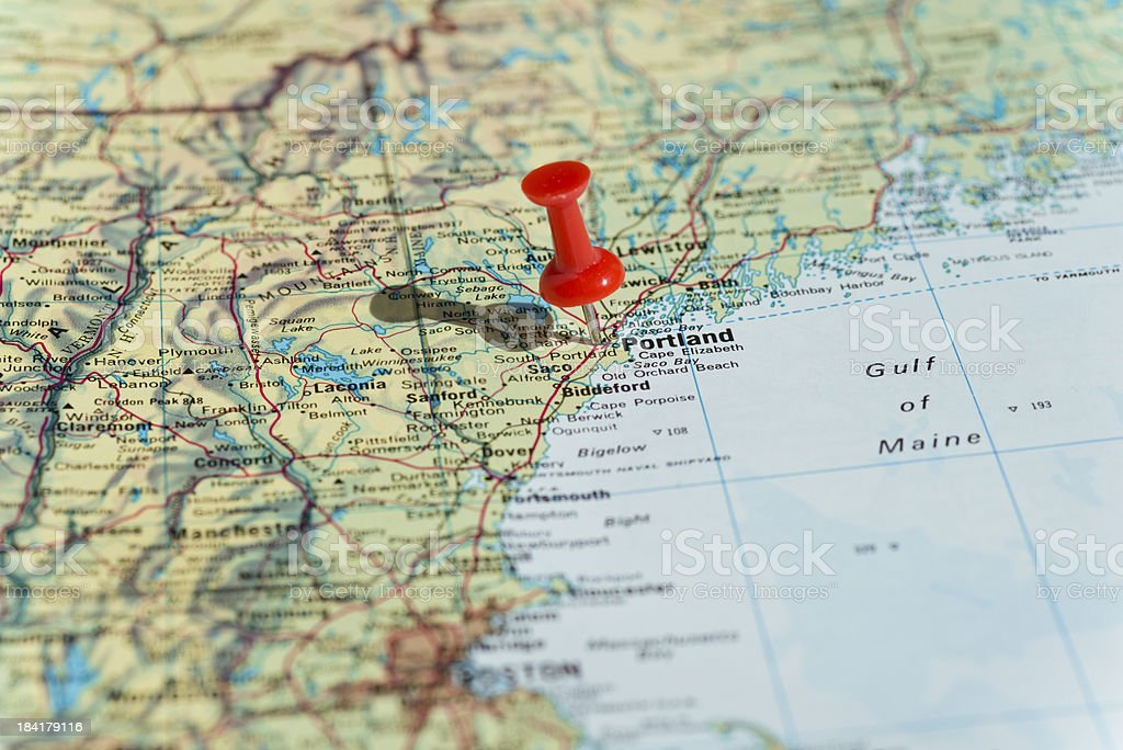 Portland Marked on Map with Red Pushpin stock photo
