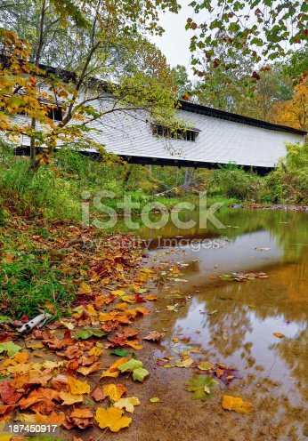 Indiana's Portland Mills Covered Bridge, built in 1856 and shown here with vivid autumn foliage, is the oldest of many covered bridges in Parke County.