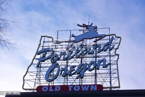 Famous Historic Stag sign of Portland old town in downtown area