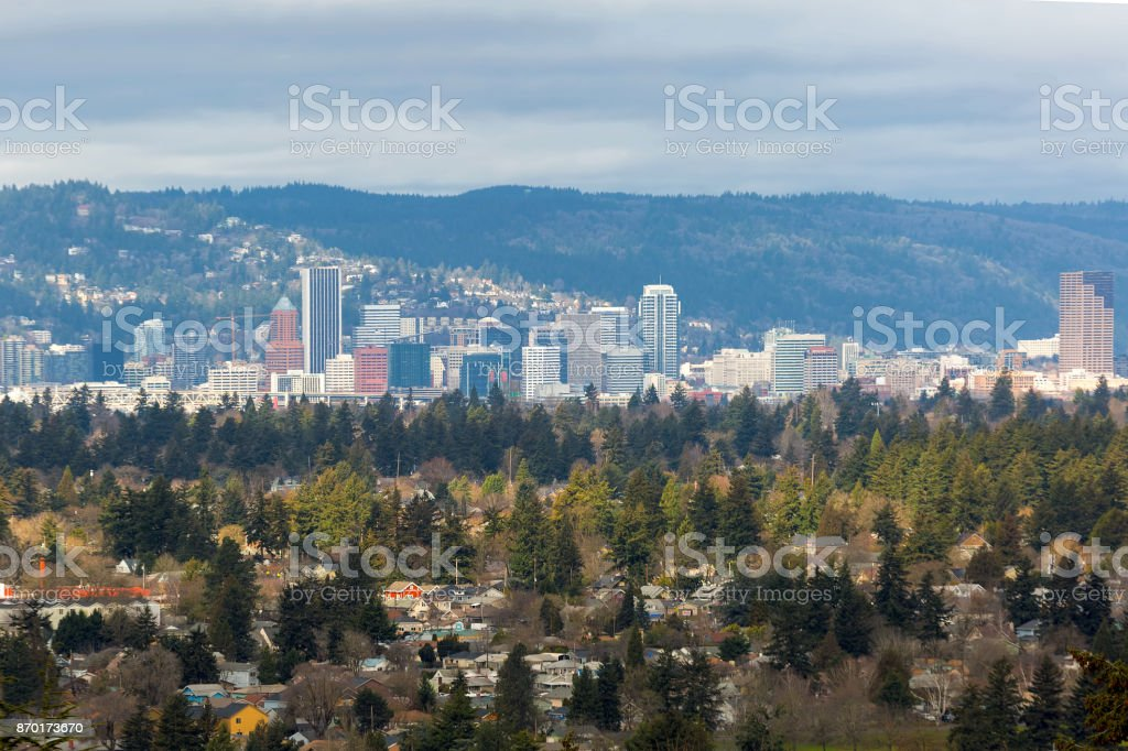 Portland OR USA SE neighborhood with downtown city skyline view stock photo