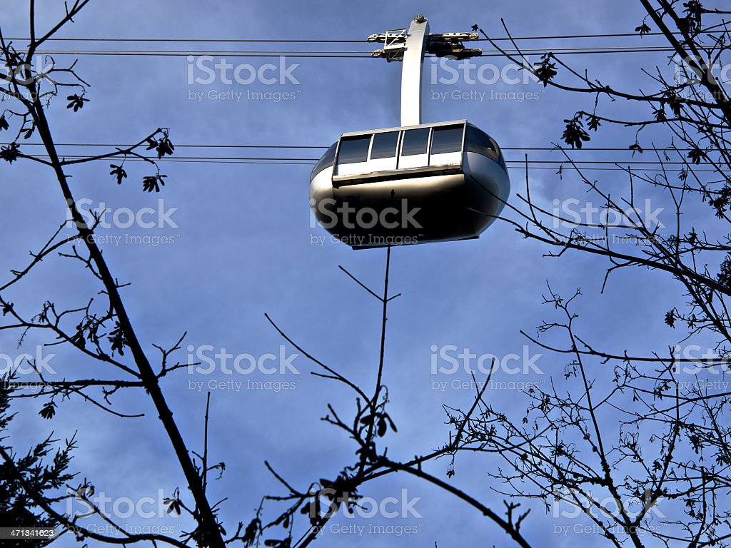 Portland Oregon Aerial Tram Car Blue Sky Tree Branches Stock Photo
