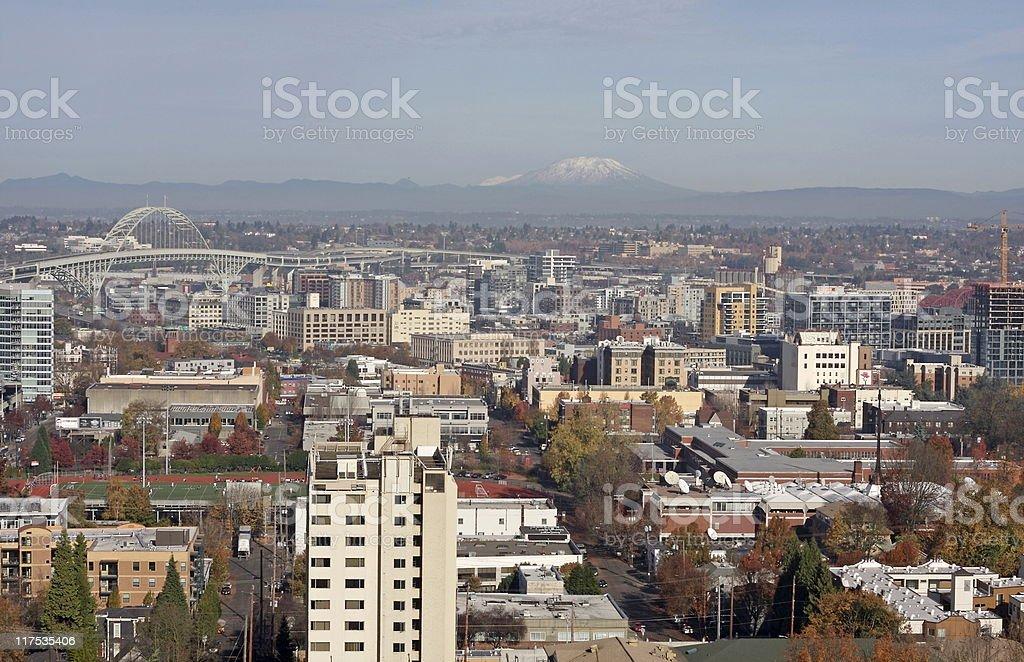 Portland, Oregon and Mt. St Helens stock photo