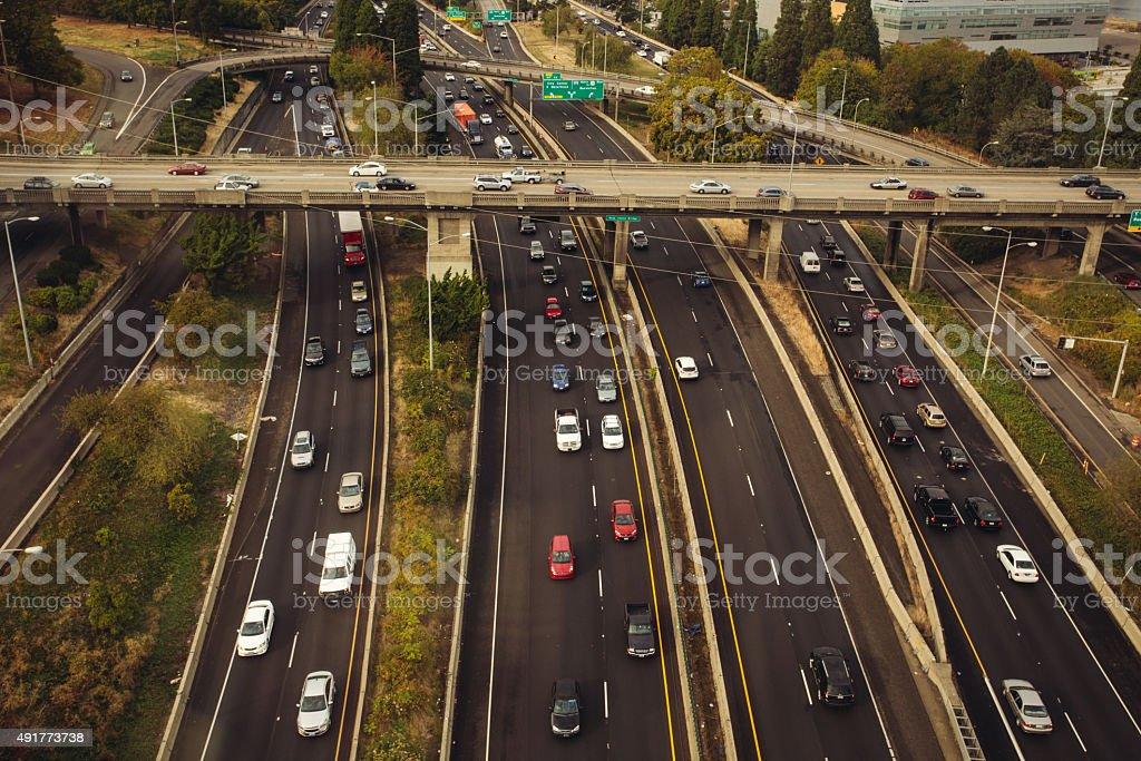 Portland Oregon Busy Traffic Problem stock photo
