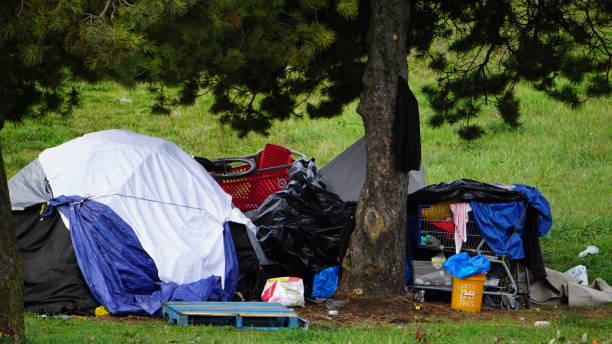 Portland Oregon Camping or Homelessness stock photo