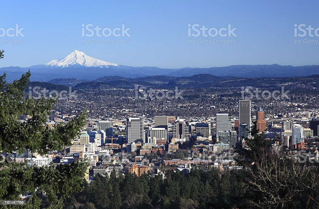 Portland Oregon Cityscape Mt Hood royalty-free stock photo