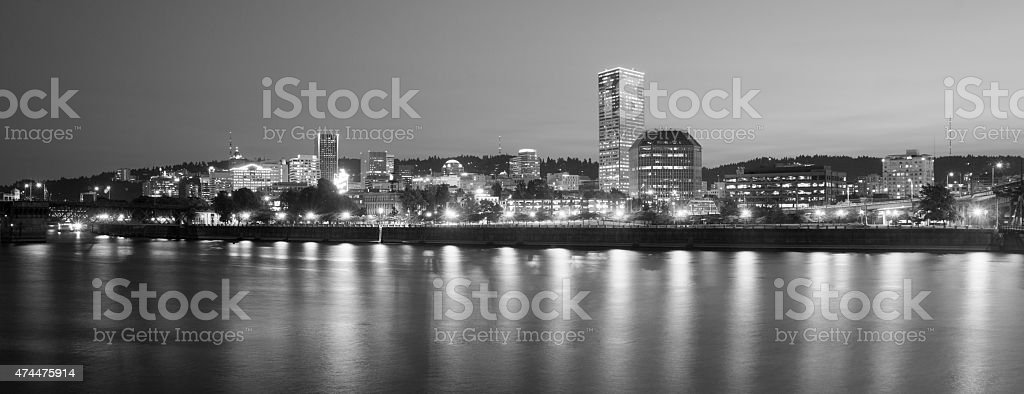Portland Oregon Downtown City Skyline Reflection Willamette River stock photo