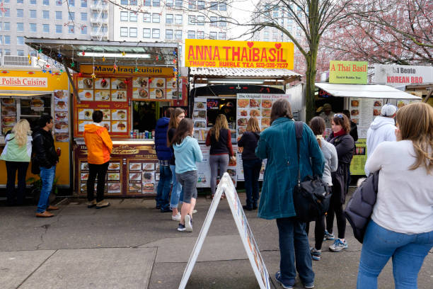 Portland Oregon Food Trucks stock photo