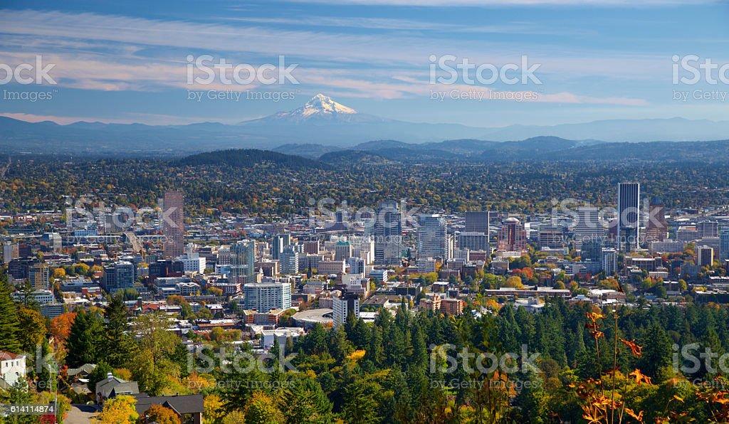 Portland Oregon in autumn stock photo