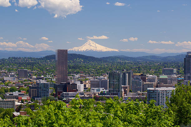 Portland Oregon in spring Portland Oregon in spring. A snow covered Mt hood in the background mt hood stock pictures, royalty-free photos & images