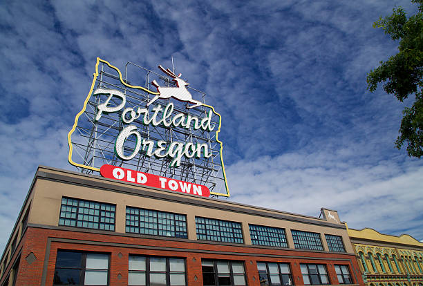 Portland Oregon Landmark Stag Sign in Old Town stock photo