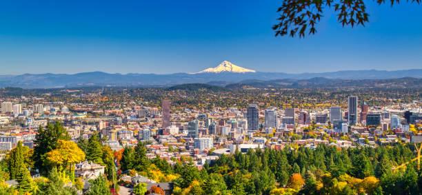 Portland Oregon skyline with Mt. Hood in Autumn stock photo