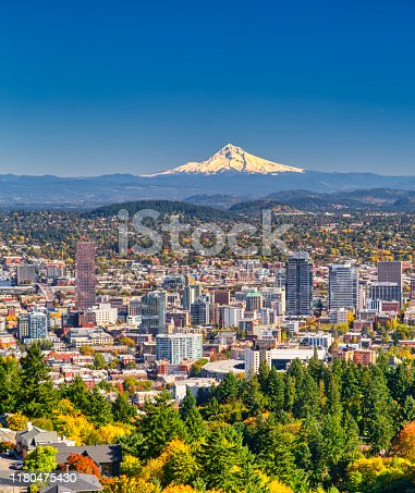 Aerial view of Portland, Oregon take in Autumn