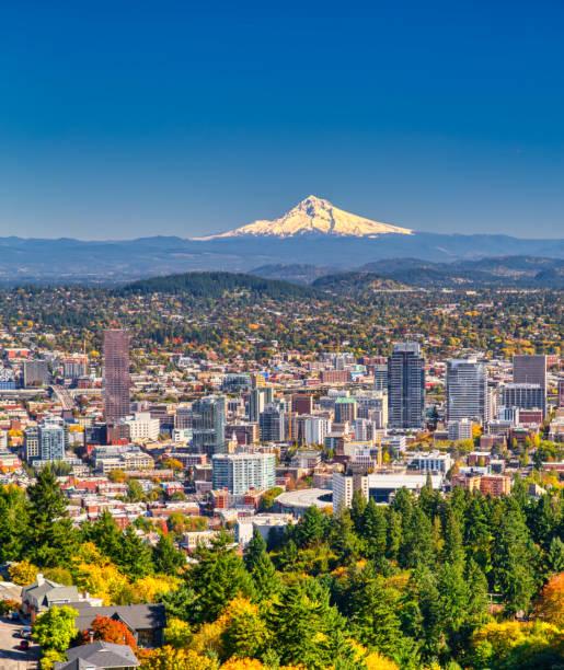 Portland Oregon skyline with Mt. Hood in Autumn