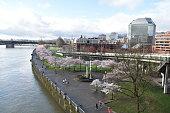 Taken from steel bridge Portland waterfront Oregon spring