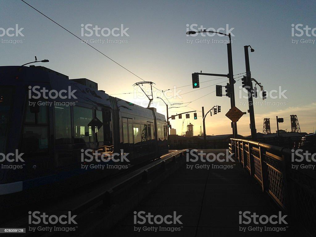 Portland, Oregon Streetcar in the Morning Light stock photo