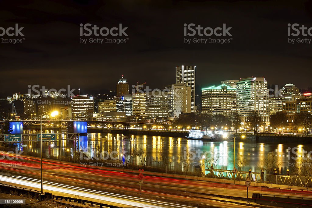 Portland Oregon Waterfront Skyline at Night royalty-free stock photo