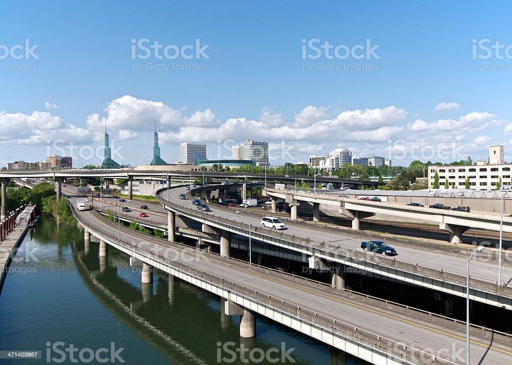 Portland Oregon Willamette River Intersate I-5 and 84 City Skyscrapers stock photo