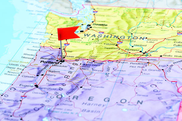 Oregon Map Pictures Images And Stock Photos IStock - Portland usa map