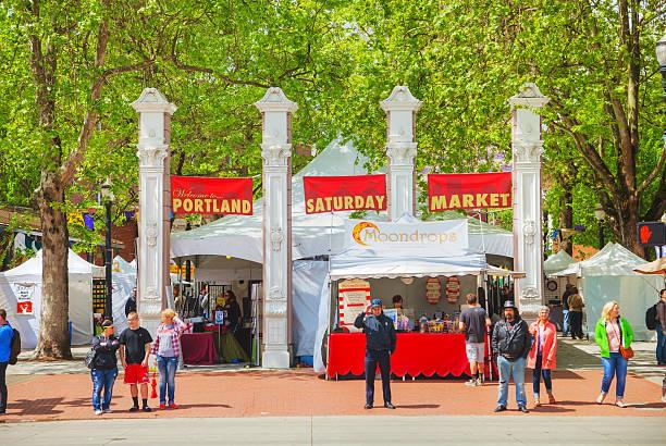 Portland Saturday Market stock photo