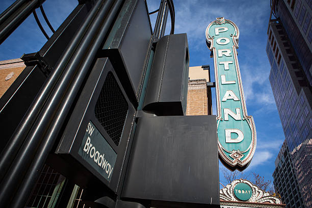 Portland sign from Broadway street in downtown. stock photo