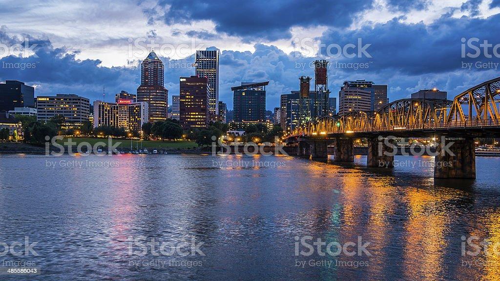 Portland Skyline Along Willamette River stock photo