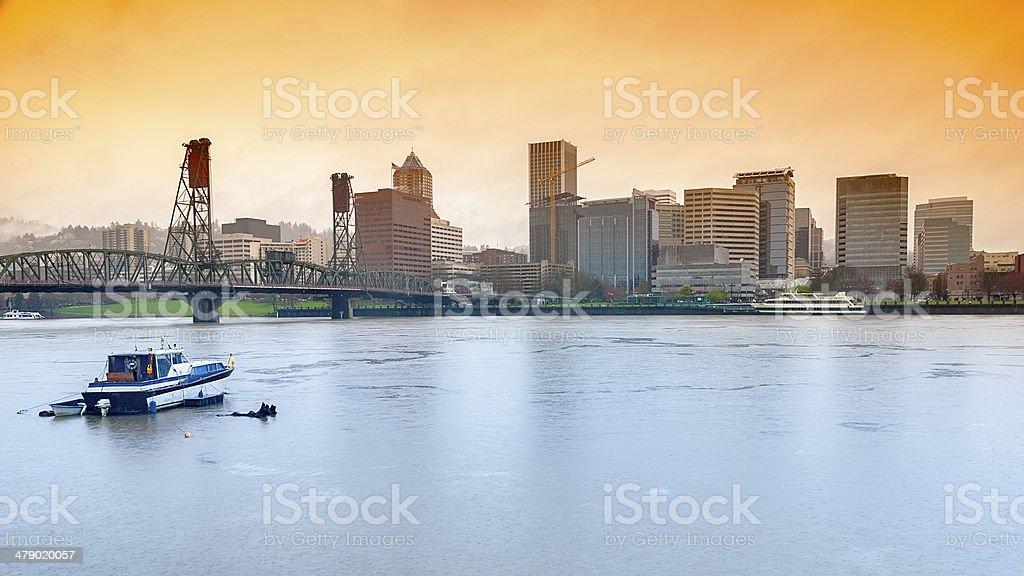 Portland skyline on a rainy day stock photo
