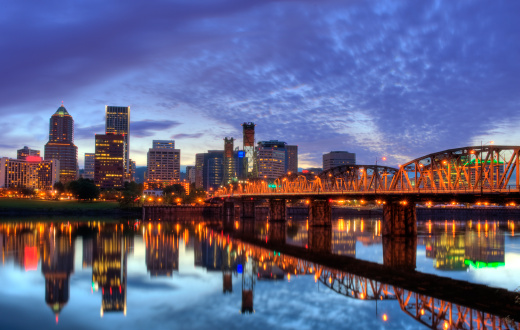Portland, Oregon at night.  Including the Hawthorn bridge.